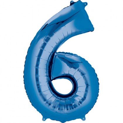 "16"" Blue Number Balloon - 6"