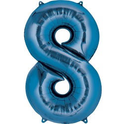 """16"""" Blue Number Balloon - 8"""