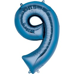 "16"" Blue Number Balloon - 9"