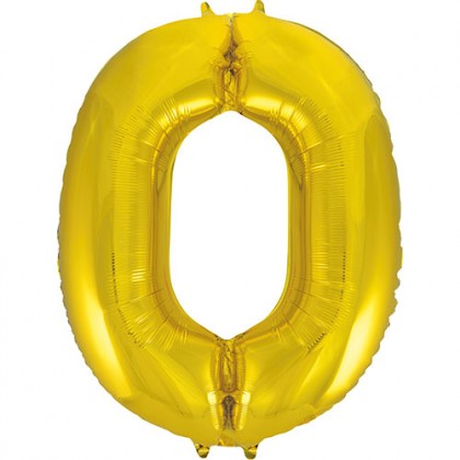 "32"" Gold Number Balloon - 0"