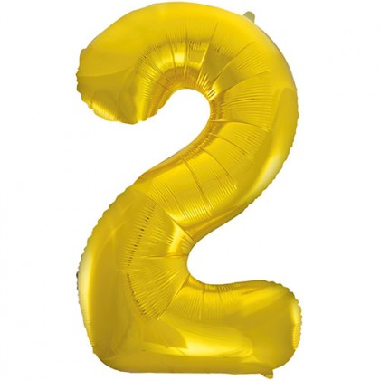 "32"" Gold Number Balloon - 2"