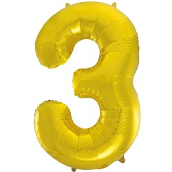 "32"" Gold Number Balloon - 3"