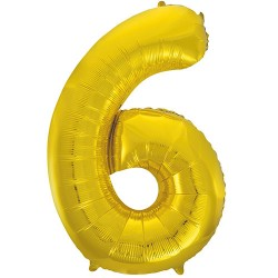 "32"" Gold Number Balloon - 6"