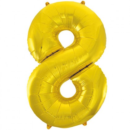 "32"" Gold Number Balloon - 8"
