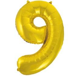 "32"" Gold Number Balloon - 9"