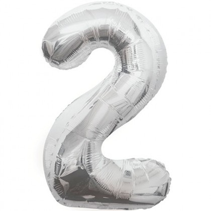 "32"" Silver Number Balloon - 2"