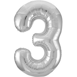 """32"""" Silver Number Balloon - 3"""