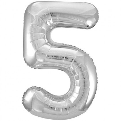 """32"""" Silver Number Balloon - 5"""