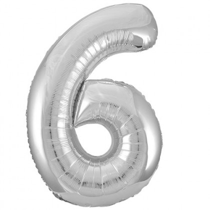 """32"""" Silver Number Balloon - 6"""