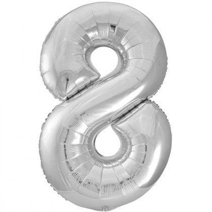 "32"" Silver Number Balloon - 8"