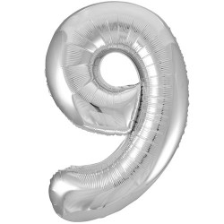 """32"""" Silver Number Balloon - 9"""