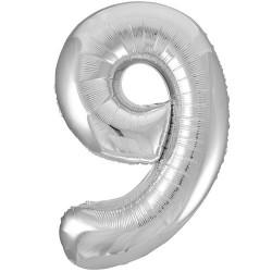 """32"""" Ezüst szám fólia lufi - 9"""