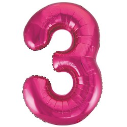 """32"""" Pink Number Balloon - 3"""