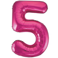 "32"" Pink Number Balloon - 5"