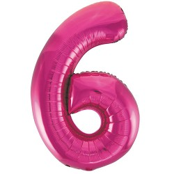 "32"" Pink Number Balloon - 6"