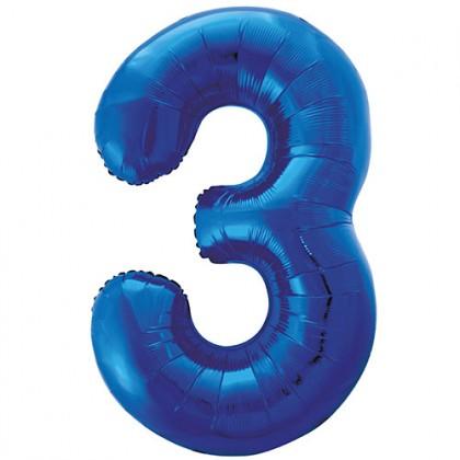 """32"""" Kék szám fólia lufi - 3"""