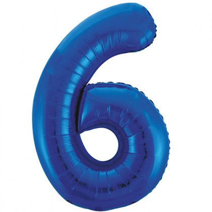 "32"" Blue Number Balloon - 6"