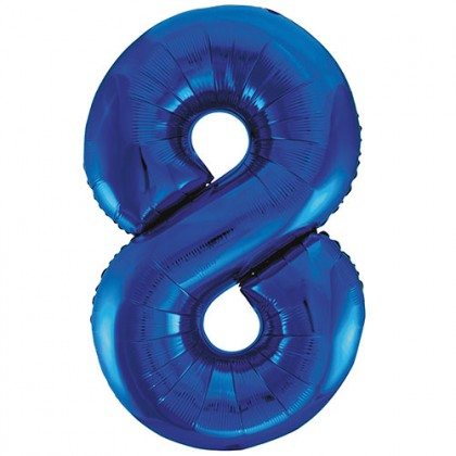 """32"""" Blue Number Balloon - 8"""