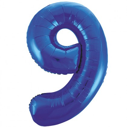 "32"" Blue Number Balloon - 9"