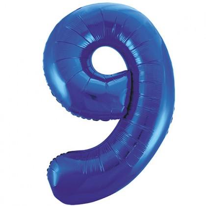 """32"""" Kék szám fólia lufi - 9"""