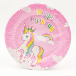 """Happy birthday unicorn"" big paper plate"