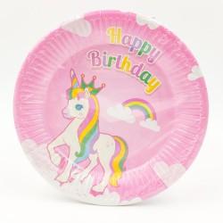 """""""Happy Birthday unikornis"""" nagy tányér"""