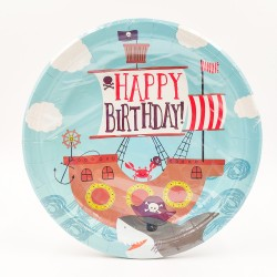 """Happy birthday pirate ship"" big paper plate"