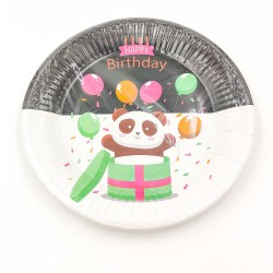 """Happy birthday Panda"" big paper plate"