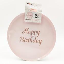 """""""Happy birthday"""" pasztel rózsaszín kicsi tányér"""