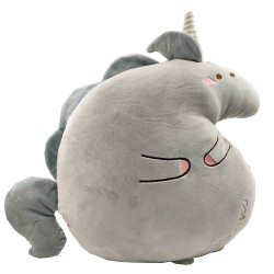 Kawaii grey unicorn plush pillow