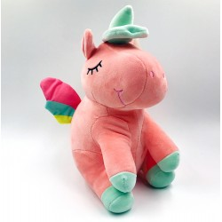 Cute pink unicorn plush with colorful wings - 35 cm