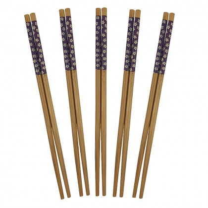 Purple sakura chopsticks set
