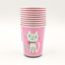Bohém macska mintás papírpohár 10 db-os