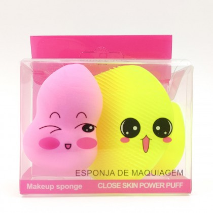 Cute Ruby Face make up sponge set (yellow and pink)