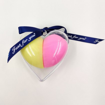 Makeup sponge in heart-shaped box with bow(yellow and pink)