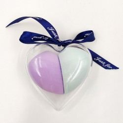 Makeup sponge in heart-shaped box with bow(purple and lightblue)