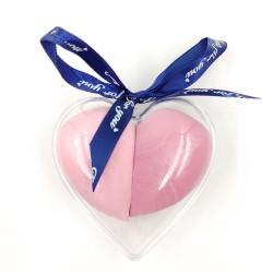 Sminkszivacsok masnis, szívformájú tartóban(pink)