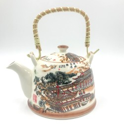Oriental porcelain teapot with filter