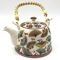 Oriental fans porcelain teapot with filter