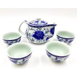 Kék pünkösdi rózsa teáskészlet