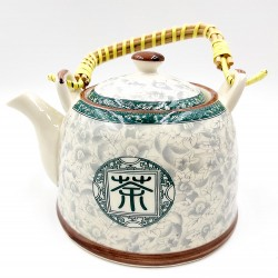Oriental flower porcelain teapot with filter
