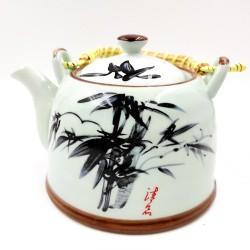 Bambusz porcelán teáskanna szűrővel