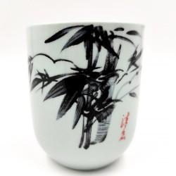 Bamboo porcelain teacup