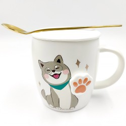 Cute Glasses Shiba Inu Mug with 3D paws