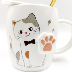 Bow tie cat mug with 3D paws