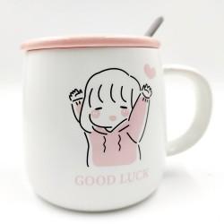 Good Luck rózsaszín bögre