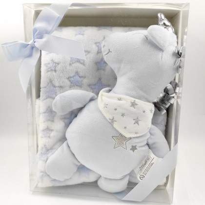Gray cloudy patterned soft plush baby blanket with Unicorn