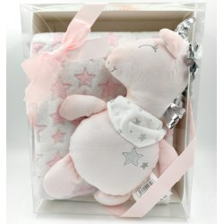 Pink star patterned soft plush baby blanket with Unicorn