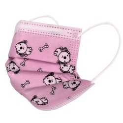 50 pcs Disposable 3 layers Girl Pink Dog Face Mask