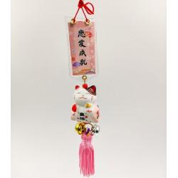 Maneki Neko szerencse függő - Rózsaszín